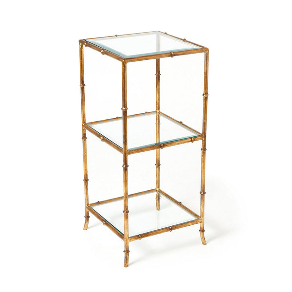 gold bamboo shelf table
