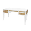 Worlds Away Heidi Desk - White Matte Lacquer w/ Grasscloth