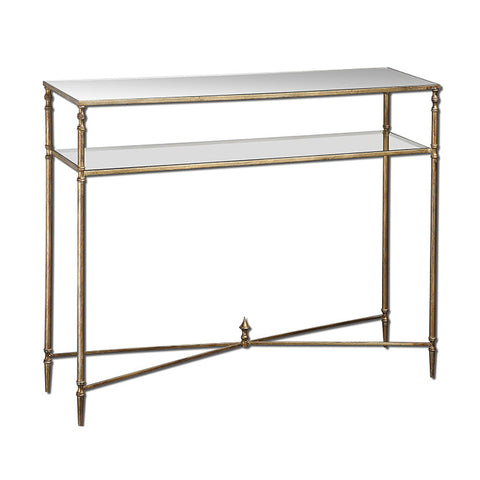 X Henzler Mirrored Glass Console Table