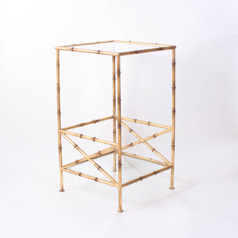 Antique Gold Bamboo Cross Table