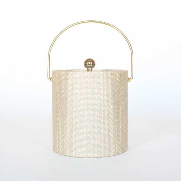 Beige Wicker Ice Bucket