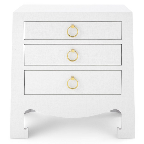 Bungalow 5 Jacqui 3-Drawer Side Table White Grasscloth