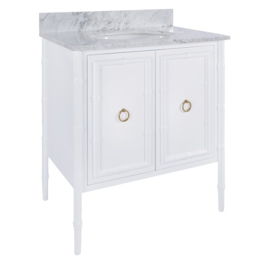 Worlds Away White Lacquer Bath Vanity