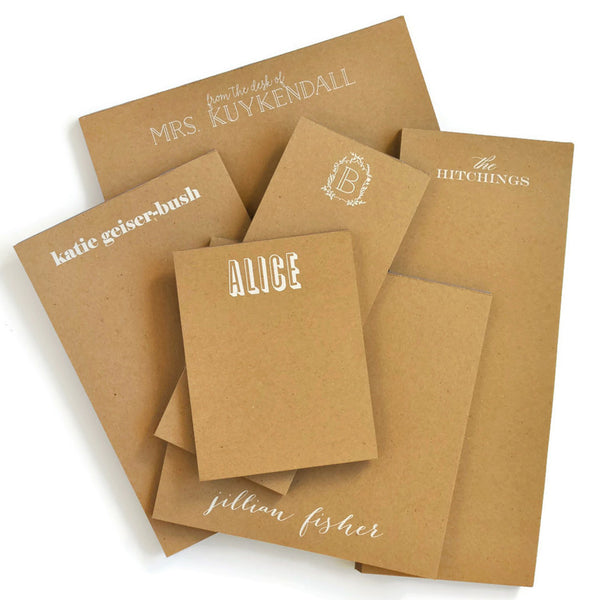 Personalized Notepads on Kraft Paper