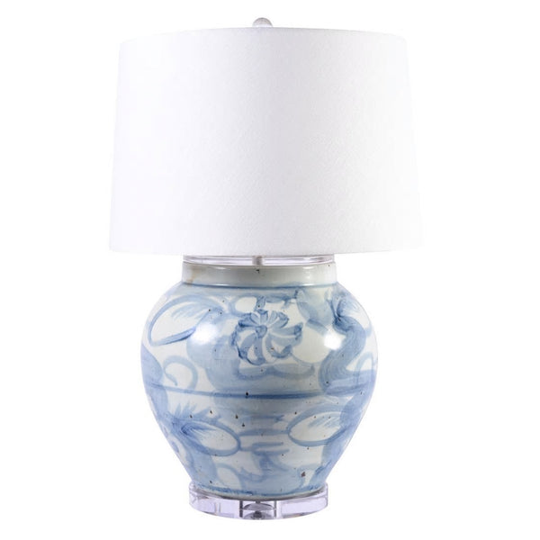 Blue & White Twisted Flower Open Mouth Lamp