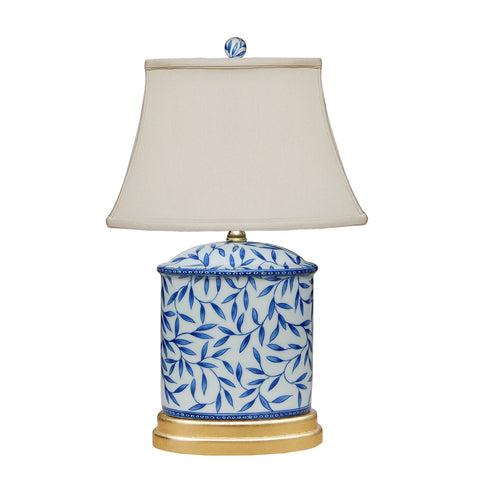 Blue and White Leaves Table Lamp