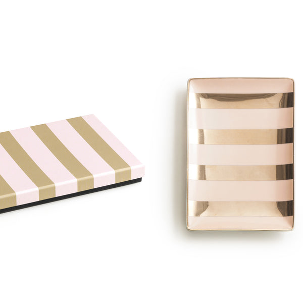 Pink and Gold Striped Dish