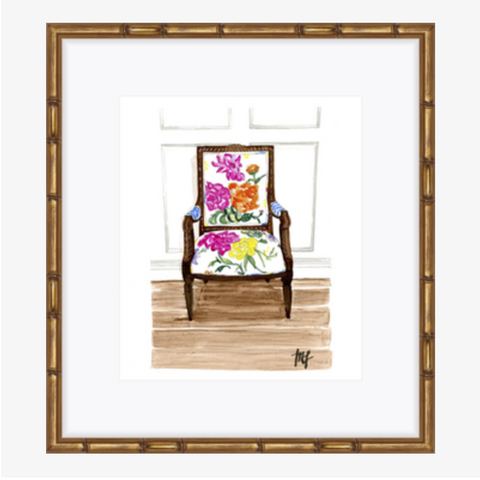 Floral Louis XVI Chair Watercolor Print