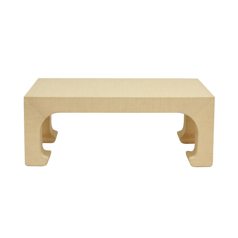 Worlds Away Nicola Coffee Table -Natural Grasscloth