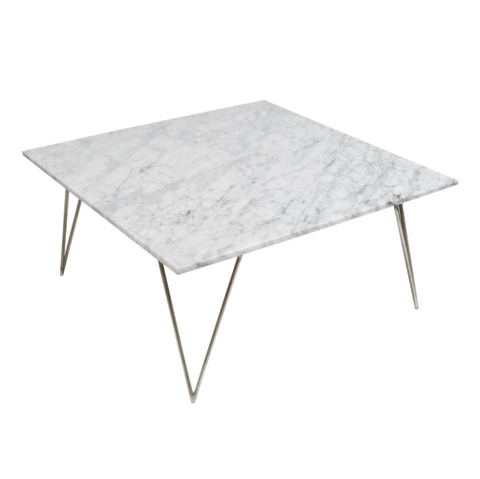 Worlds Away Neal Coffee Table - White Marble/Silver