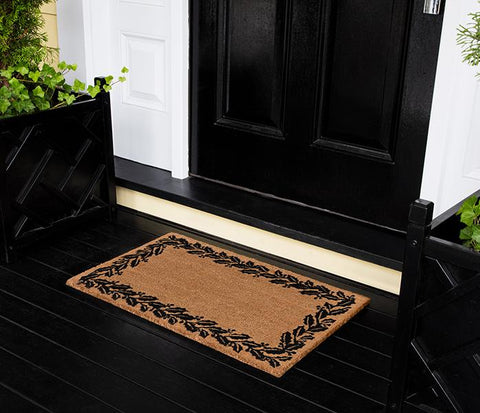 "Erin Gates by Momeni Park Holly Border Black Hand Woven Natural Coir Doormat 1'6"" X 2'6"""""