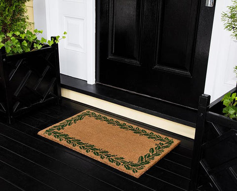 "Erin Gates by Momeni Park Holly Border Green Hand Woven Natural Coir Doormat 1'6"" X 2'6"""""