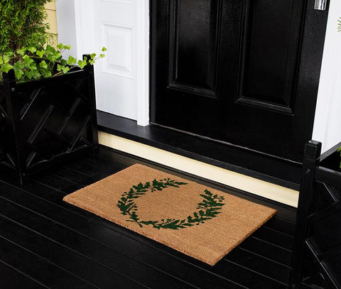 "Erin Gates by Momeni Park Holiday Laurel Green Hand Woven Natural Coir Doormat 1'6"" X 2'6"""""