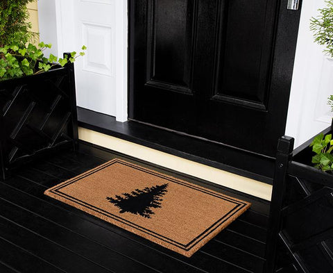 "Erin Gates by Momeni Park Evergreen Silhouette Black Hand Woven Natural Coir Doormat 1'6"" X 2'6"""""