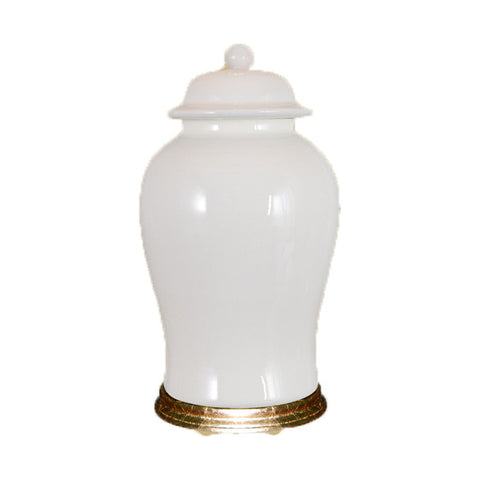 White Ginger Jar with Gold Base