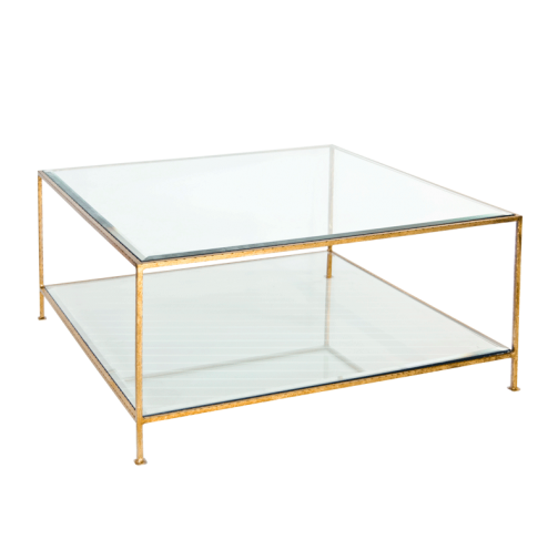 Worlds Away Quadro Coffee Table with Beveled Glass