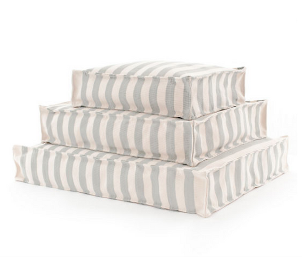 Trimaran Stripe Light Blue and Ivory Dog Bed