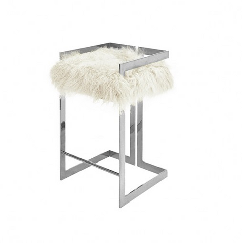Worlds Away Hearst Bar Stool with Fur Cushion