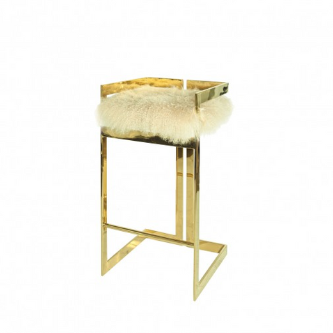 Worlds Away Hearst Bar Stool with Natural Fur