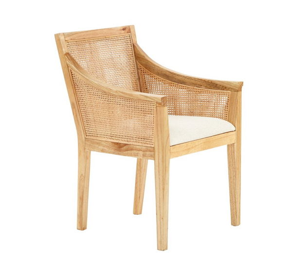 Valencia Arm Chair Wood Frame Woven Rattan Color