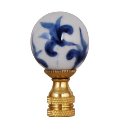 Blue and White Floral Finial