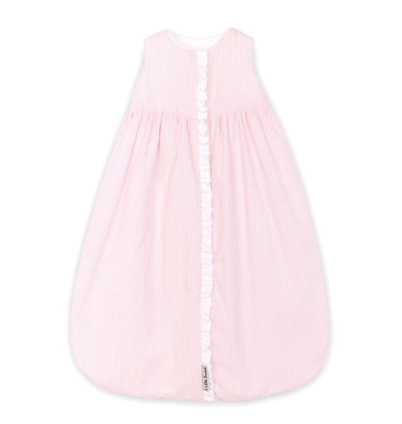 Sleep Sack - Pink & White Pinstripe Seersucker with White Ruffle