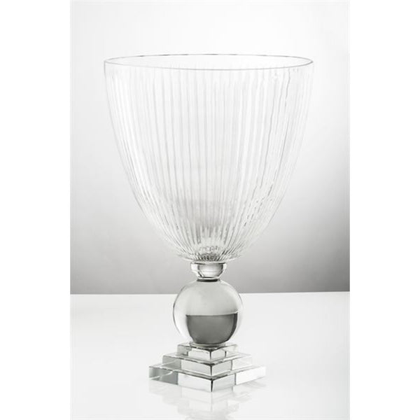 Crystal Cut Vertical Footed Vase