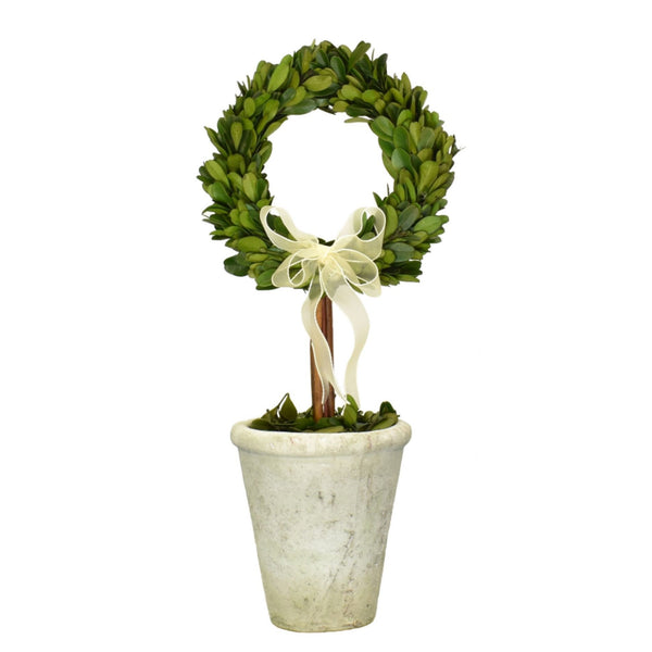 Boxwood Ring Topiary With Ribbon
