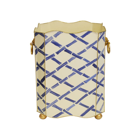 Worlds Away Lion and Bamboo Square Wastebasket