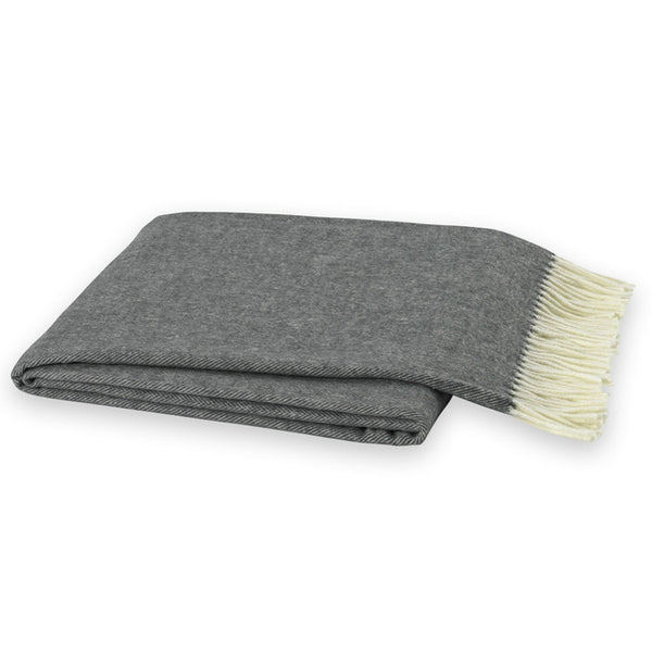 Charcoal Grey Herringbone Throw