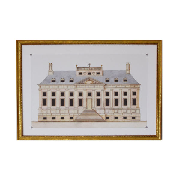 Architectural Drawing II of Blue Roofed Neo Classical House Archival Print