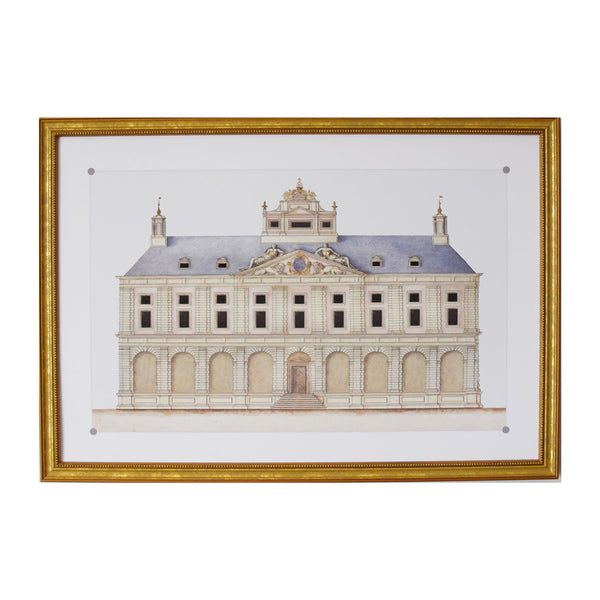 Antique Architectural Illustration of Blue Roofed Neo Classical House Archival Print