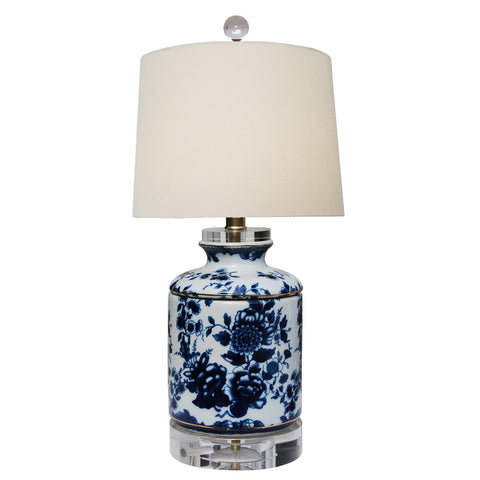 Blue and White Floral Table Lamp