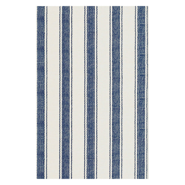 Blue Awning Stripe Woven Cotton Rug