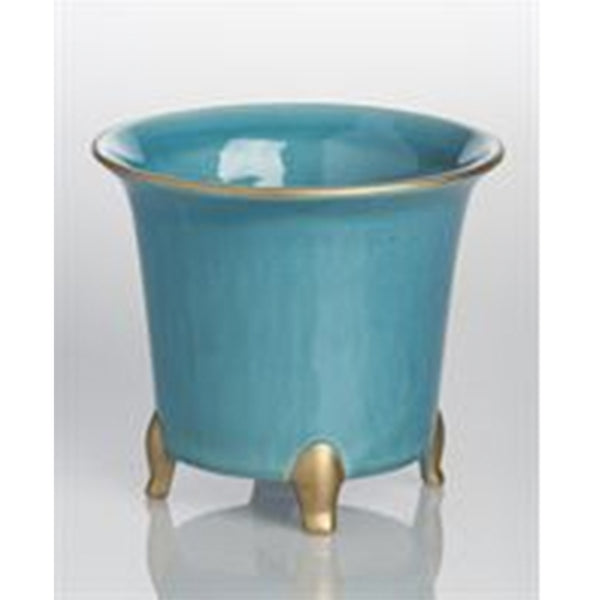 Turquoise with Gold Cachepot