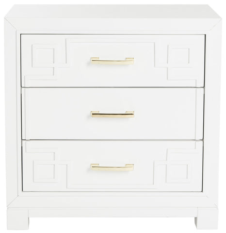 Raina Three Drawer Greek Key Nightstand