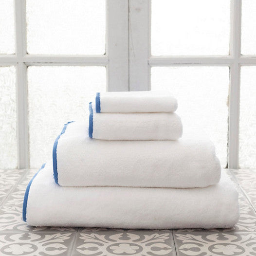 Signature Banded White and French Blue Towels (Wash Cloth)