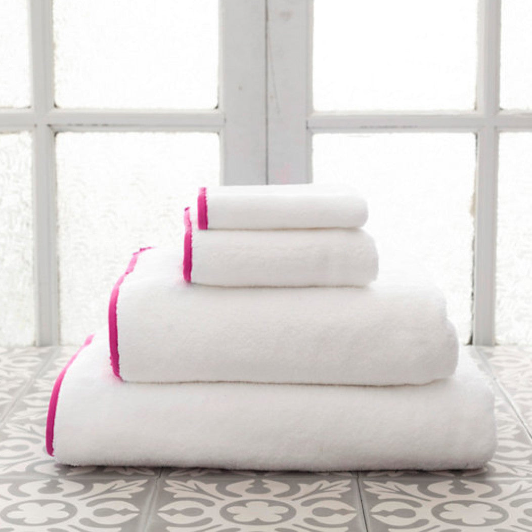 Signature Banded White and Fuchsia Towels (Wash Cloth)