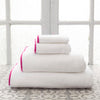 Signature Banded White and Fuchsia Towels