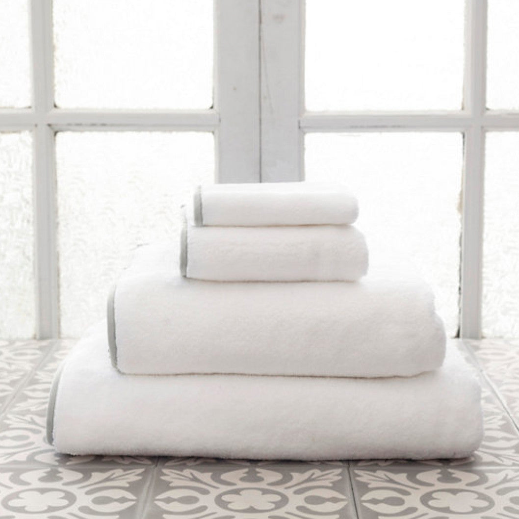 Signature Banded White and Pearl Grey Towels (Wash Cloth)