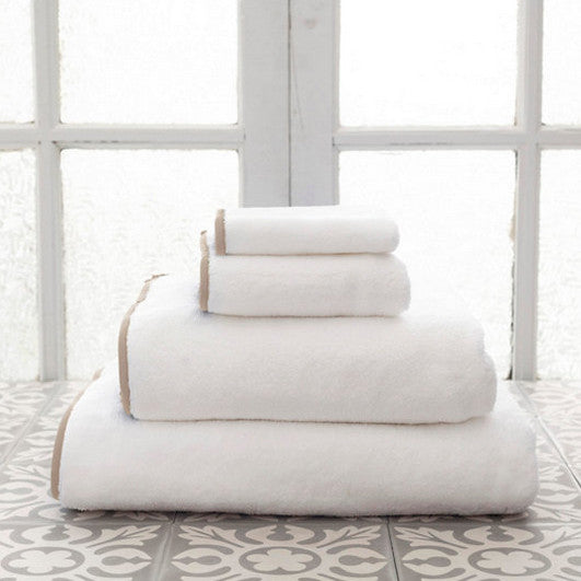 Signature Banded White and Linen Towels (Wash Cloth)