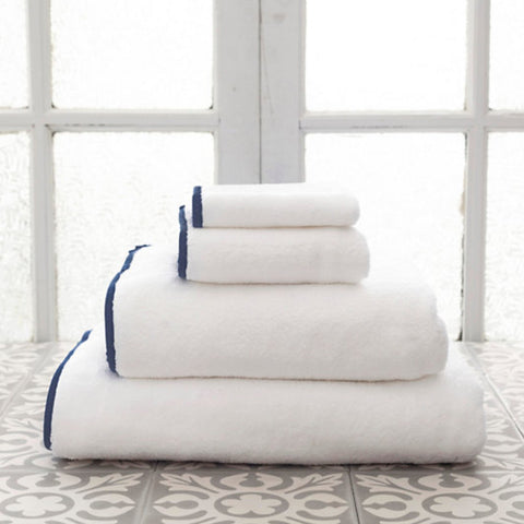Signature Banded White and Navy Towels
