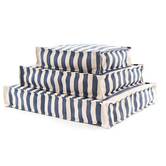 Trimaran Stripe Navy and Ivory Dog Bed
