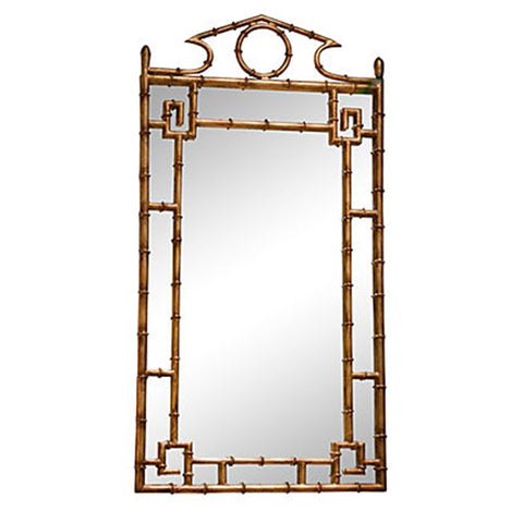 Antiqued Chinoiserie Bamboo Mirror
