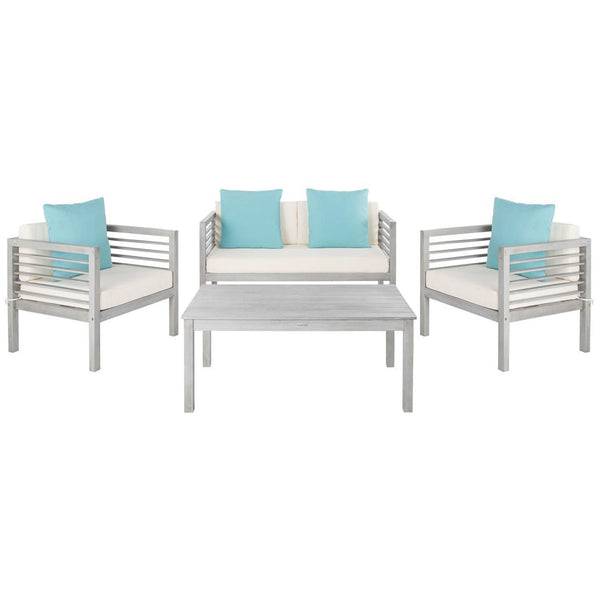 Alda 4 Piece Outdoor Set with Accent Pillows - Grey Wash/White/Light Blue
