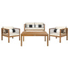 Alda 4 Piece Outdoor Set with Accent Pillows - Teak, Navy, White
