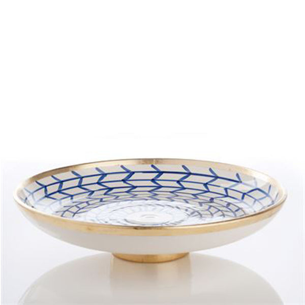 Decorative Geometric Ceramic Footed Plate