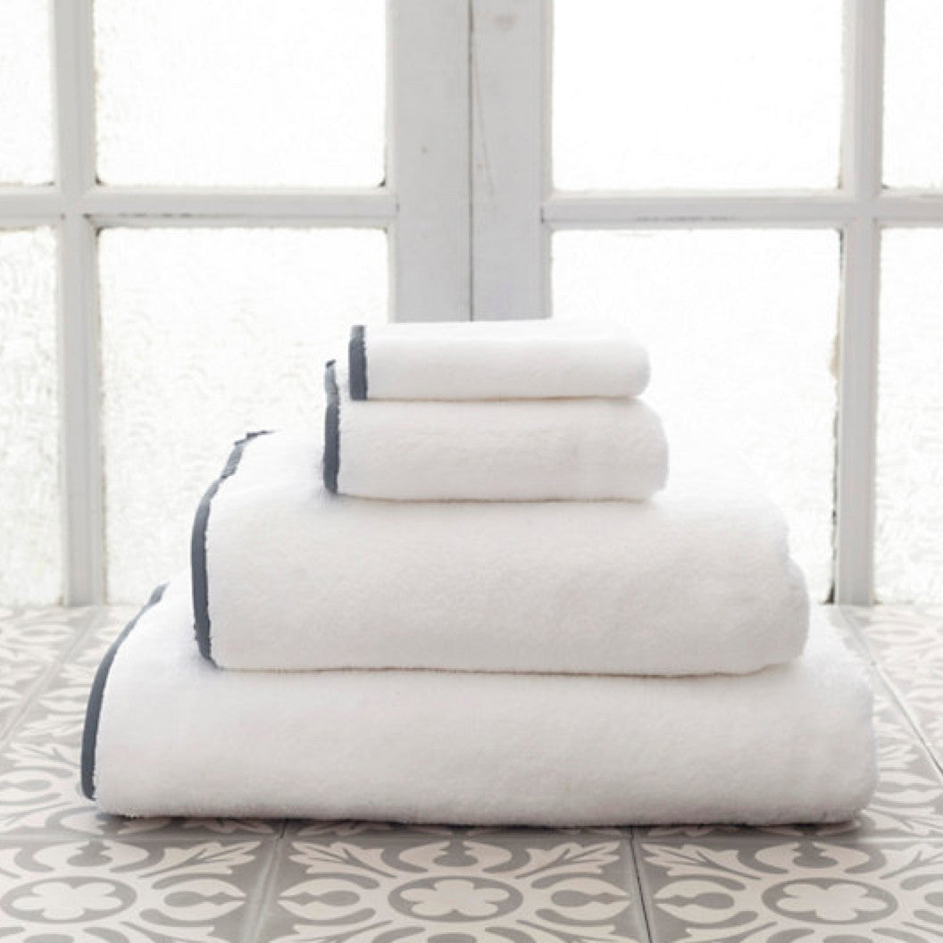 Signature Banded White and Shale Grey Towels (Wash Cloth)