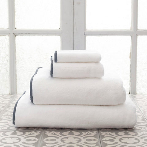 Signature Banded White and Shale Grey Towels