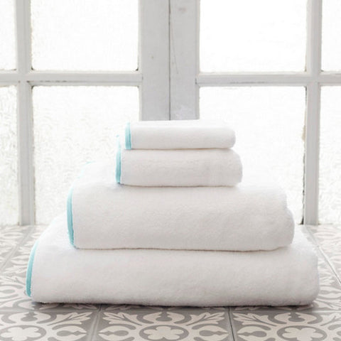 Signature Banded White and Sky Blue Towels